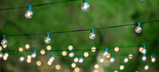 fairy lights in backyard