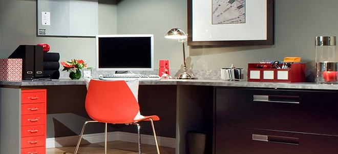 home office with red chair
