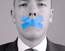 Man's mouth taped shut