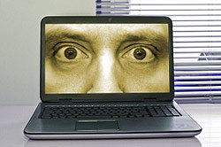 Strange eyes peering out of a computer
