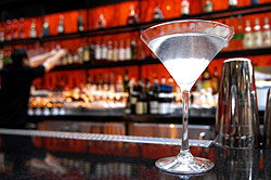 Martini on a Bar; Bartender in Background