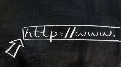 A chalkboard URL.