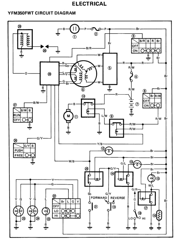 wiring diagram for yamaha 350 warrior with Yamaha Warrior 350 Wiring Harness Diagram on Yamaha Bruin 350 Wire Diagram likewise Yfm400fwn Wiring Diagrams together with 1991 Cadillac Seville Engine Diagram likewise Yamaha Xt225 Serow furthermore Honda Cb125s Chilton Electrical Wiring Diagram.