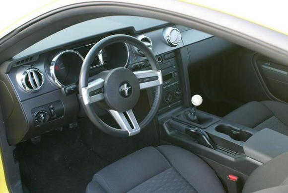 Yellow Mustang interior