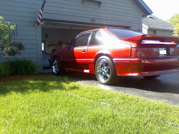 93 gt, electric red metallic paint, saleen wing