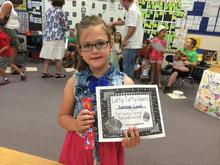 Loralei's award at school