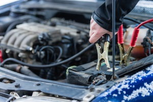 jump-start car, jumper cables