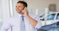 car salesman on the phone