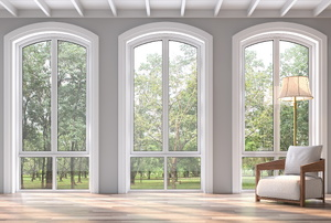 Three large windows with arched tops