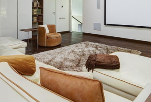 home theater with large, comfy seats