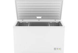 An open chest freezer.