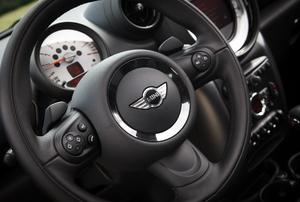 A Mini Cooper steering wheel.