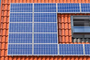 solar panels on a terracotta roof