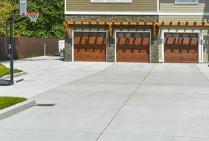 A concrete driveway.