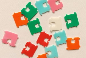 colorful plastic tags from bread bags