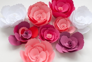 pink and red paper flowers