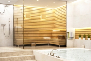 bathroom with steam room shower