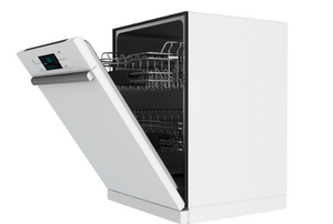 white dishwasher with the door ajar