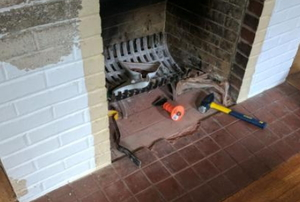 hearth removal project before image