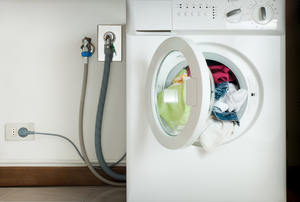 washing machine with hook-ups showing