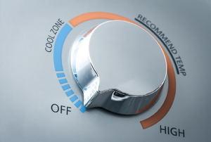 A temperature gauge knob