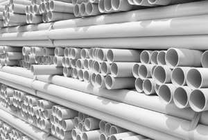 A stack of PVC pipe.