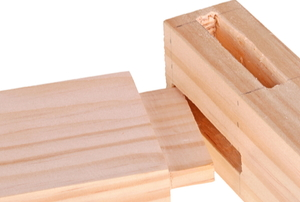 wood pieces with mortise and tenon joint