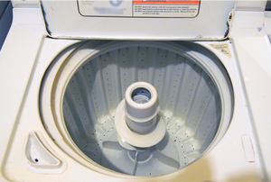 Inside a washing machine with agitator