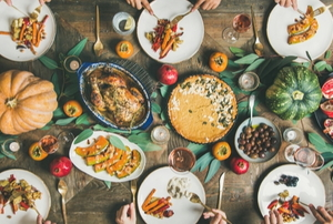 thanksgiving dinner table with various natural foods