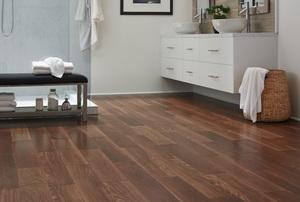 Wood plank bathroom flooring