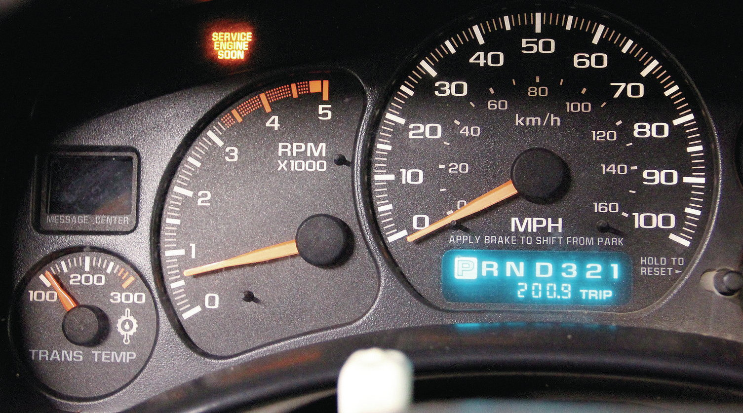 The check engine light will illuminate on your dash when service is needed.
