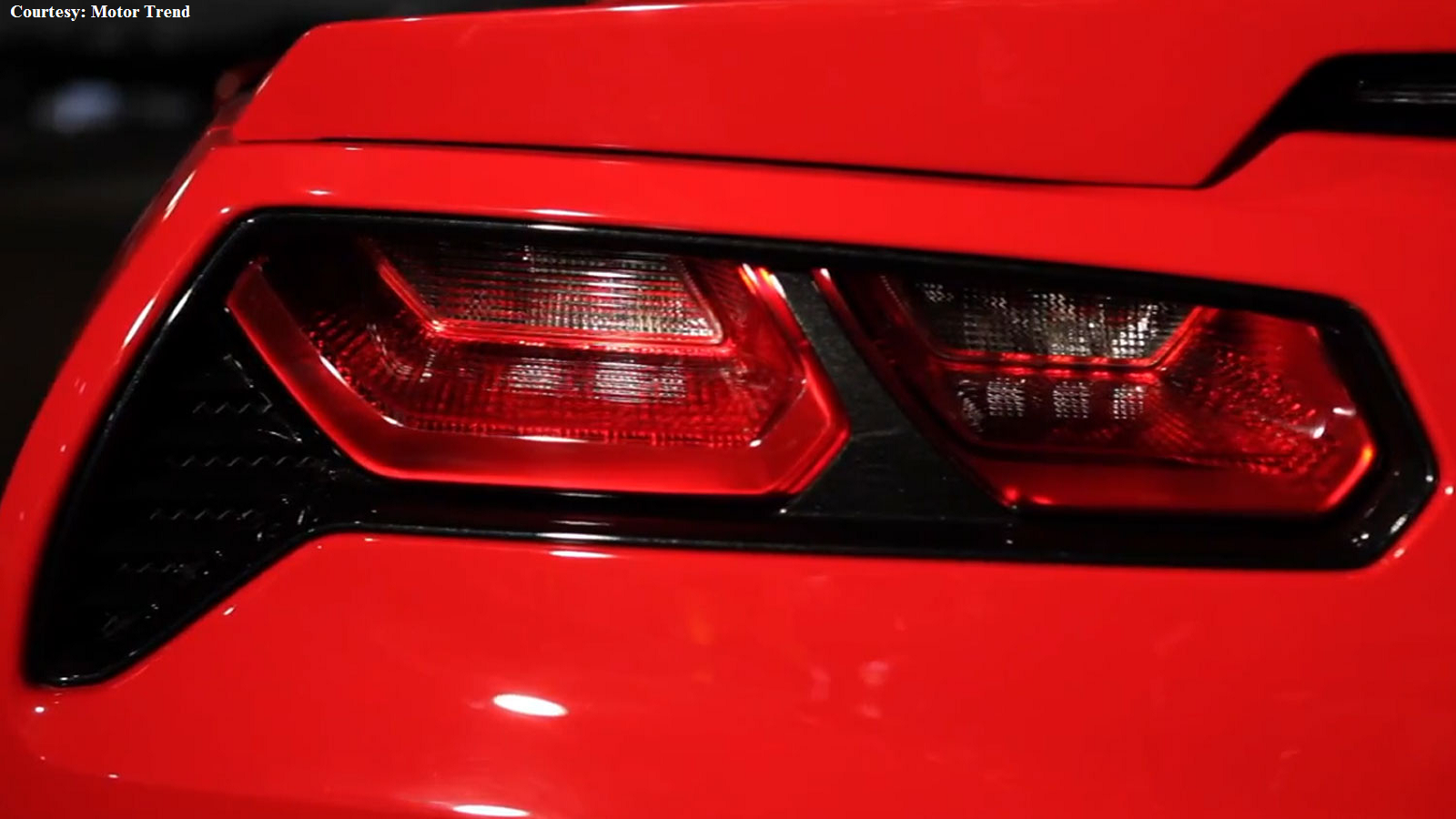 The modern Stingray's flag-shaped tail lights.