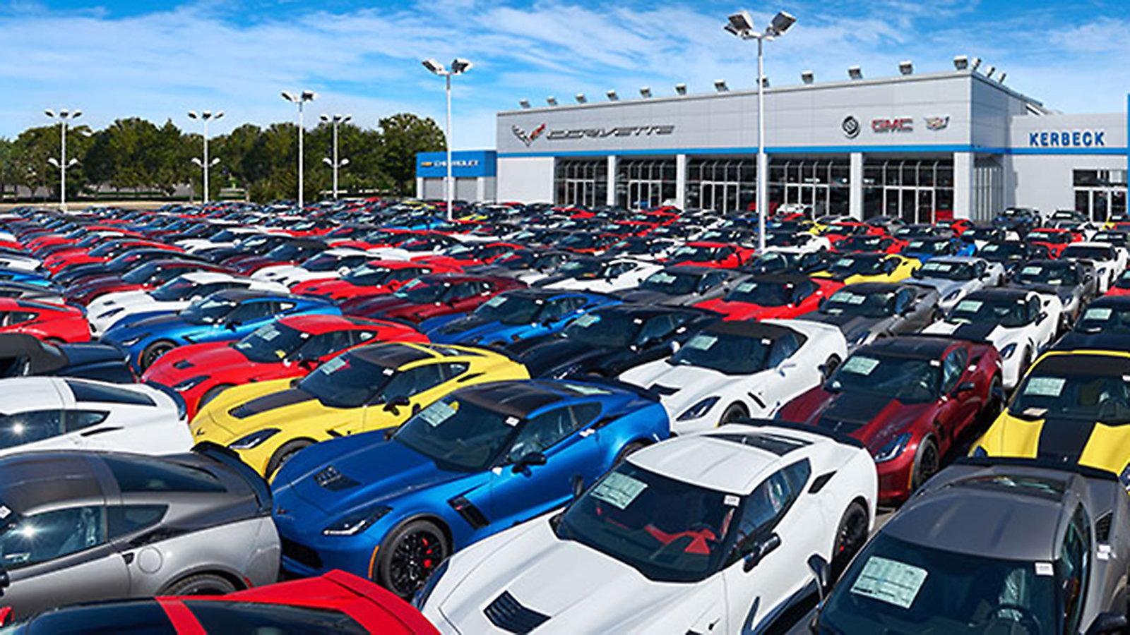 The jam-packed lot of Kerbek Corvette in Atlantic City, NJ