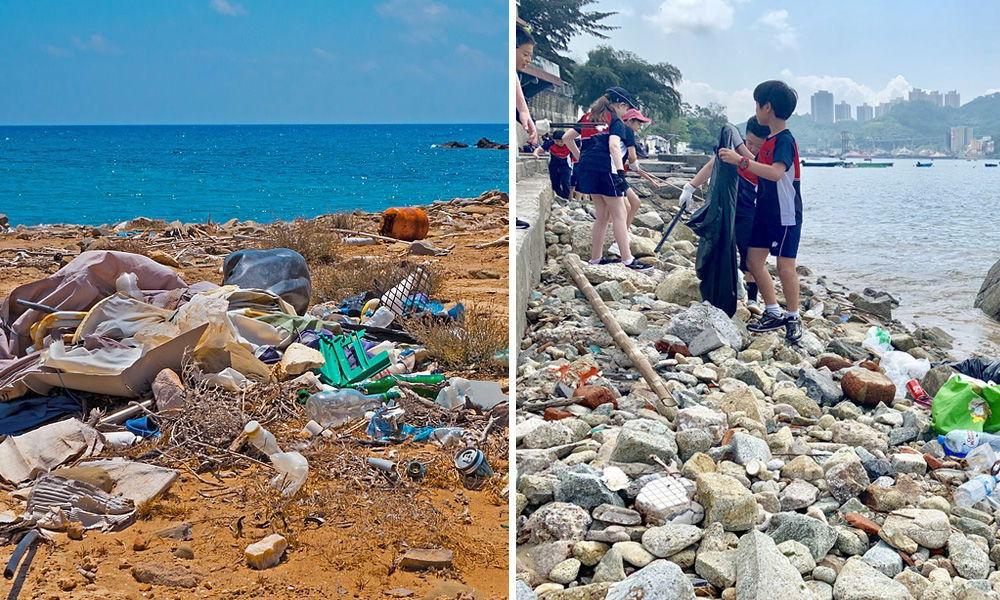 seashore garbage and people picking it up