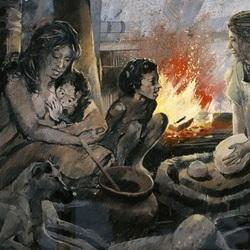 Prehistoric women around campfire