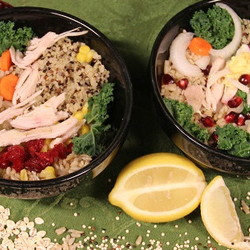 Power bowls with whole grains and thanksgiving leftovers