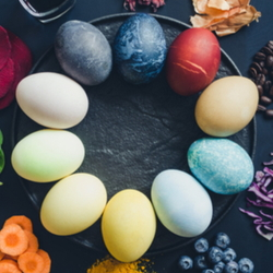 Ring of Dyed Eggs with their Natural Source