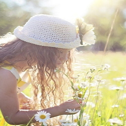 Child in a field of daisies