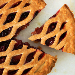 Rhubarb Pie with a Slice cut out
