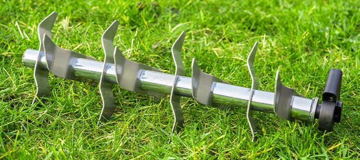 Metal Lawn Till on Grass