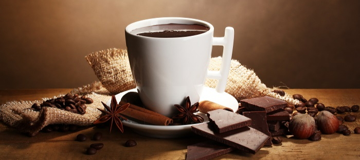 Hot chocolate with herbs and spices