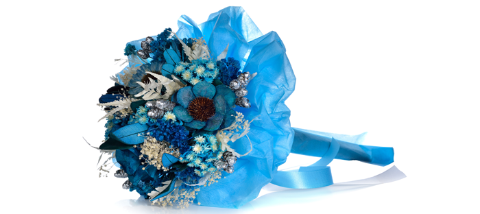Dyed, Stylized Bouquet of Blue Flowers