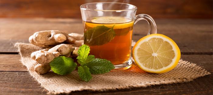 Mug of Tea with Lemon, Mint, and Ginger