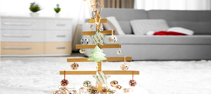 Wood Mobile Christmas Tree with Ornaments