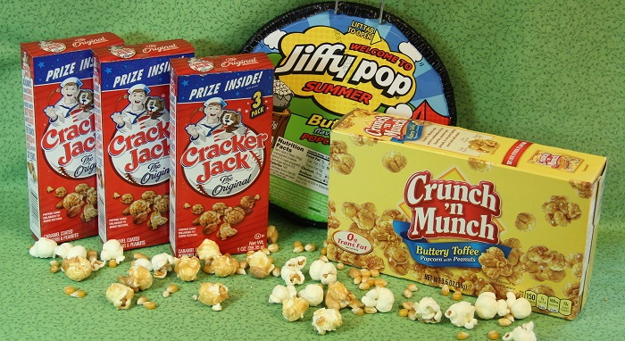 cracker jack, crunch and munch and jiffy pop