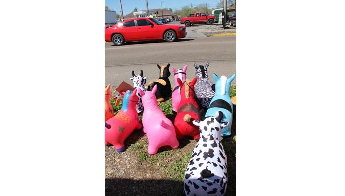 Baloon animals waiting to cross the street