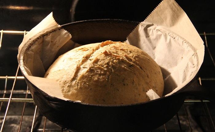 bread baking in dutch oven