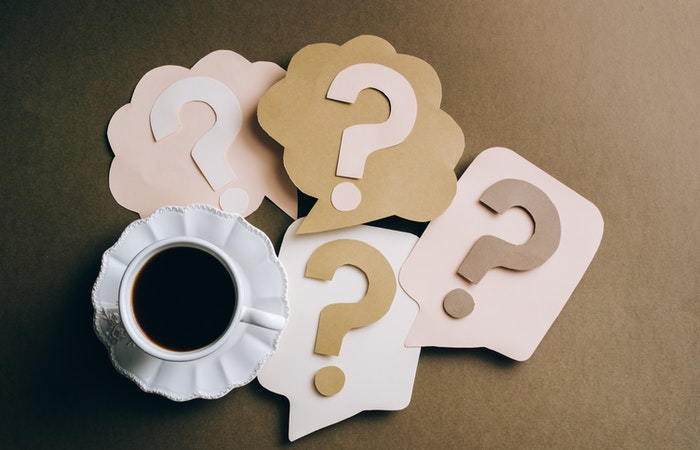 coffee with question marks