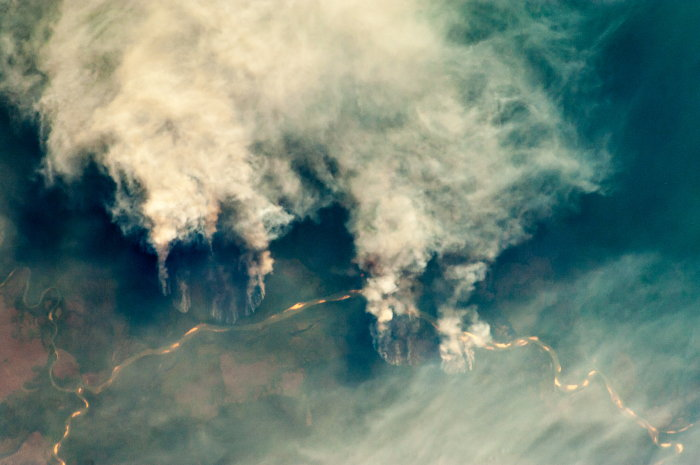 wildfire view from space