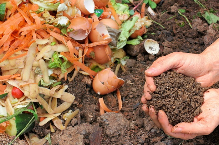 mixing compost into the soil